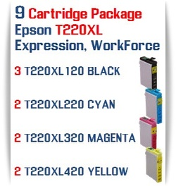 9 T220XL Cartridge Package  Epson Expression XP, WorkForce WF Compatible Ink Cartridges 3- T220XL120  Black, 2- T220XL220 Cyan, 2- T220XL320 Magenta, 2- T220XL420 Yellow