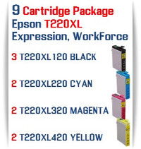9 T220XL Cartridge Package  Epson Expression XP, WorkForce WF Compatible Ink Cartridges 3- T220XL120  Black, 2- T220XL220 Cyan, 2- T220XL320 Magenta, 2- T220XL420 Yellow
