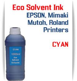 Cyan Eco Solvent Ink 1000ml bottle ink - EPSON, Roland, Mimaki, Mutoh printers
