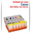 6 Refillable Ink Tanks Canon Pixma PGI-250XL, CLI-251XL  CANON PIXMA MG7520, PIXMA MG7120, PIXMA MG6320, PIXMA iP8720