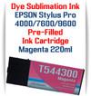 Magenta Epson Stylus Pro 4000, 7600, 9600 printer Dye Sublimation Ink Cartridge 220ml