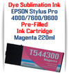 Magenta  Epson Stylus Pro 4000, 7600, 9600 printer Dye Sublimation Ink Cartridge 220ml