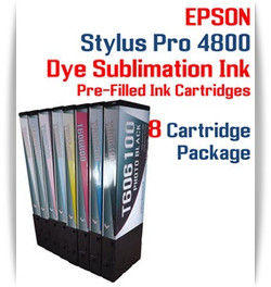 8 Cartridge Package - Epson Stylus Pro 4800 Dye Sublimation Ink Cartridges 220ml
