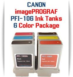 6 - PFI-106 Canon imagePROGRAF Compatible Pigment Ink Tanks 130ml