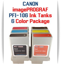6 - PFI-106 Canon imagePROGRAF Compatible Pigment Ink Tanks 130ml