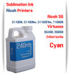 Cyan RICOH 240ml bottle Sublimation Ink   Ricoh SG 3110DN 3110DNw 3110SFNw 7100DN printers  Virtuoso SG400, SG800 printers