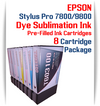 8 Cartridges - Epson Stylus Pro 7800/9800 Pre-Filled with Dye Sublimation Ink Cartridges 220ml each