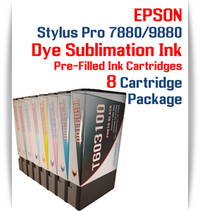 8 Cartridges - Epson Stylus Pro 7880/9880 Pre-Filled with Dye Sublimation Ink Cartridges 220ml each