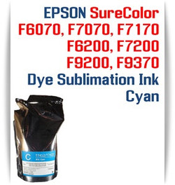 EPSON SureColor F6070, F7070, F7170, F6200, F7200, F9200, F9370 printer Dye Sublimation Ink - Cyan 1000ml bag with chip