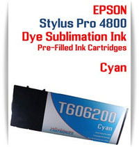 Cyan Epson Stylus Pro 4800 Dye Sublimation Ink Cartridges 220ml