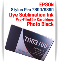 Photo Black Epson Stylus Pro 7800/9800 Pre-Filled with Dye Sublimation Ink Cartridge 220ml each
