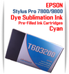 Cyan Epson Stylus Pro 7800/9800 Pre-Filled with Dye Sublimation Ink Cartridge 220ml each