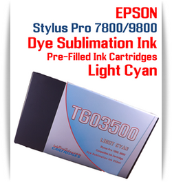 Light Cyan Epson Stylus Pro 7800/9800 Pre-Filled with Dye Sublimation Ink Cartridge 220ml each