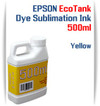 Yellow EPSON EcoTank printer Dye Sublimation Ink 500ml bottles