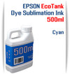 Cyan EPSON EcoTank printer Dye Sublimation Ink 500ml bottles