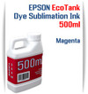 Magenta EPSON EcoTank printer Dye Sublimation Ink 500ml bottles