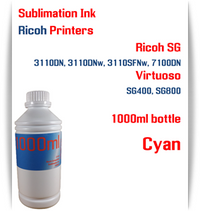 Cyan RICOH 1000ml bottle Sublimation Ink   Ricoh SG 3110DN 3110DNw 3110SFNw 7100DN printers  Virtuoso SG400, SG800 printers