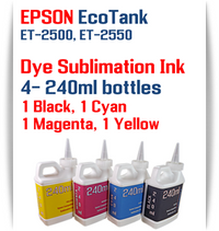 EPSON EcoTank ET-2500, ET-2550 Printer 4 Color Package 240ml bottles Dye Sublimation Bottle Ink