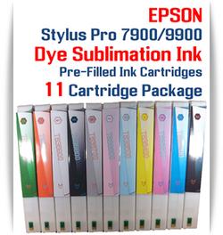 11 Cartridges - Epson Stylus Pro 7900/9900 Dye Sublimation Ink Cartridges