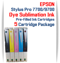5 Cartridges - Epson Stylus Pro 7700/9700 Pre-Filled Dye Sublimation Ink Cartridges