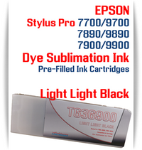 Light Light Black Epson Stylus Pro 7890/9890, 7900/9900 Pre-Filled Dye Sublimation Ink Cartridge