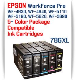 5 Color Package - 786XL Epson WorkForce Pro Printer Compatible Ink Cartridges   Workforce Pro WP-4630  Workforce Pro WP-4640   Workforce Pro WP-5110  Workforce Pro WP-5190   Workforce Pro WP-5620   Workforce Pro WP-5690