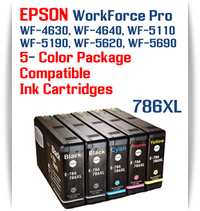 5 Color Package - 786XL Epson WorkForce Pro Printer Compatible Ink Cartridges   Workforce Pro WP-4630  Workforce Pro WP-4640   Workforce Pro WP-5110  Workforce Pro WP-5190   Workforce Pro WP-5620   Workforce Pro WP-5690