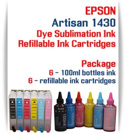 6 Refillable Cartridges & 6 100ml bottles of Sublimation Ink Package Epson Artisan 1430 printer ink cartridges