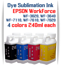 4 240ml bottles Dye Sublimation Ink Package   Included Colors: Black, Cyan, Magenta, Yellow  Epson WorkForce WF-3620, WF-3640, WF-7110, WF-7610, WF-7620 printers