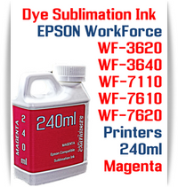 Magenta 240ml bottle Dye Sublimation Ink  Epson WorkForce WF-3620, WF-3640, WF-7110, WF-7610, WF-7620 printers
