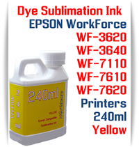 Yellow 240ml bottle Dye Sublimation Ink  Epson WorkForce WF-3620, WF-3640, WF-7110, WF-7610, WF-7620 printers