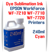 Cyan 240ml bottle Dye Sublimation Ink  Epson WorkForce WF-7210, WorkForce WF-7710, WorkForce WF-7720 printers