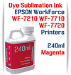 Magenta 240ml bottle Dye Sublimation Ink  Epson WorkForce WF-7210, WorkForce WF-7710, WorkForce WF-7720 printers