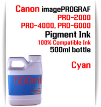 Cyan 500ml bottle Pigment Ink Canon imagePROGRAF PRO printers  CANON imagePROGRAF PRO-500, PRO-520, PRO-540, PRO-560, PRO-1000, PRO-2000, PRO-4000, PRO-6000 printers