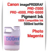 Photo Magenta 500ml bottle Pigment Ink Canon imagePROGRAF PRO printers  CANON imagePROGRAF PRO-500, PRO-520, PRO-540, PRO-560, PRO-1000, PRO-2000, PRO-4000, PRO-6000 printers
