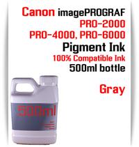 Gray 500ml bottle Pigment Ink Canon imagePROGRAF PRO printers  CANON imagePROGRAF PRO-500, PRO-520, PRO-540, PRO-560, PRO-1000, PRO-2000, PRO-4000, PRO-6000 printers
