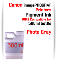Photo Gray 500ml bottle Pigment Ink Canon imagePROGRAF iPF printers  CANON imagePROGRAF iPF6300, iPF6350, iPF6400, iPF6410, iPF6450, iPF6460, iPF8300, iPF8400, iPF8410, iPF9300, iPF9400, iPF9410 printers