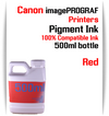 Red 500ml bottle Pigment Ink Canon imagePROGRAF iPF printers  CANON imagePROGRAF iPF6300, iPF6350, iPF6400, iPF6410, iPF6450, iPF6460, iPF8300, iPF8400, iPF8410, iPF9300, iPF9400, iPF9410 printers