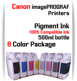 8 Color Package - 500ml bottles Pigment Ink Canon imagePROGRAF iPF printers  CANON imagePROGRAF iPF6300S, iPF6400S, iPF6410S, iPF6450, iPF6460, iPF8300S, iPF8400S, iPF8410S, iPF9400S, iPF9410S printers  Included colors: Black, Cyan, Magenta, Yellow, Photo Cyan, Photo Magenta, Gray, Matte Black