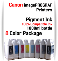 8 Color Package - 1000ml bottles Pigment Ink Canon imagePROGRAF iPF printers  CANON imagePROGRAF iPF6300S, iPF6400S, iPF6410S, iPF6450, iPF6460, iPF8300S, iPF8400S, iPF8410S, iPF9400S, iPF9410S printers  Included colors: Black, Cyan, Magenta, Yellow, Photo Cyan, Photo Magenta, Gray, Matte Black