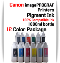 12 Color Package - 1000ml bottles Pigment Ink Canon imagePROGRAF iPF printers  Canon imagePROGRAF iPF6300, iPF6350, iPF6400, iPF6410, iPF6450, iPF6460, iPF8300, iPF8400, iPF8410, iPF9300, iPF9400, iPF9410 printers  Included colors: Black, Cyan, Magenta, Yellow, Photo Cyan, Photo Magenta, Gray, Photo Gray, Blue, Red, Matte Black, Green