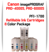 8 Color Package - PFI-1700 Refillable Ink cartridges 700ml with Auto Reset Chips installed Canon imagePROGRAF PRO-4000S, PRO-6000S printers Included colors: Photo Black, Cyan, Magenta, Yellow, Photo Cyan, Photo Magenta, Gray, Matte Black  Works with:   CANON imagePROGRAF PRO-4000S, PRO-6000S printers