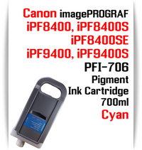Cyan - PFI-706 compatible Pigment Ink cartridge 700ml Canon imagePROGRAF Printers  Works with:  CANON imagePROGRAF iPF8400 iPF8400S iPF8400SE iPF8410 iPF8410S iPF9400 iPF9400S iPF9410 iPF9410S printers