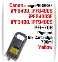 Yellow - PFI-706 compatible Pigment Ink cartridge 700ml Canon imagePROGRAF Printers  Works with:  CANON imagePROGRAF iPF8400 iPF8400S iPF8400SE iPF8410 iPF8410S iPF9400 iPF9400S iPF9410 iPF9410S printers