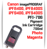 Photo Magenta - PFI-706 compatible Pigment Ink cartridge 700ml Canon imagePROGRAF Printers  Works with:  CANON imagePROGRAF iPF8400 iPF8400S iPF8400SE iPF8410 iPF8410S iPF9400 iPF9400S iPF9410 iPF9410S printers