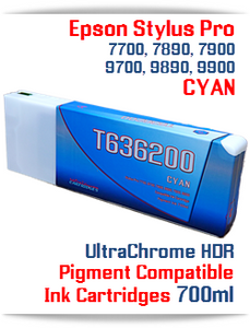 T636200 Cyan - Epson Stylus Pro UtraChrome HDR Pigment Compatible Ink Cartridge 700ml