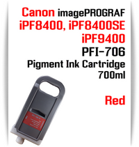 Red - PFI-706 compatible Pigment Ink cartridge 700ml Canon imagePROGRAF Printers Works with:   CANON imagePROGRAF iPF8400 iPF8400SE iPF8410 iPF8410SE iPF9400 iPF9410 printers