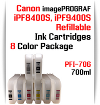 8 Color Package - PFI-706 Refillable Ink cartridges 700ml Canon imagePROGRAF Printers   Included colors: Black, Cyan, Magenta, Yellow, Photo Cyan, Photo Magenta, Gray, Matte Black  Works with: CANON imagePROGRAF iPF8400S iPF8410S iPF9400S iPF9410S printers