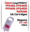 Magenta PFI-706 Refillable Ink cartridges 700ml Canon imagePROGRAF Printers   Works with:   Works with: CANON imagePROGRAF iPF8400SE iPF8410SE printers