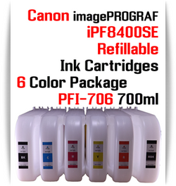 6 Color Package - PFI-706 Refillable Ink cartridges 700ml Canon imagePROGRAF Printers  Included colors: Black, Cyan, Magenta, Yellow, Matte Black, Red  Works with: CANON imagePROGRAF iPF8400SE iPF8410SE printers